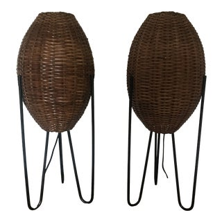 Mid-Century Paul Mayen Rattan Hairpin Leg Lamps - a Pair For Sale
