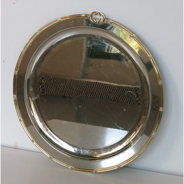 Vintage Gucci Round Silver Plate Tray For Sale In New York - Image 6 of 6