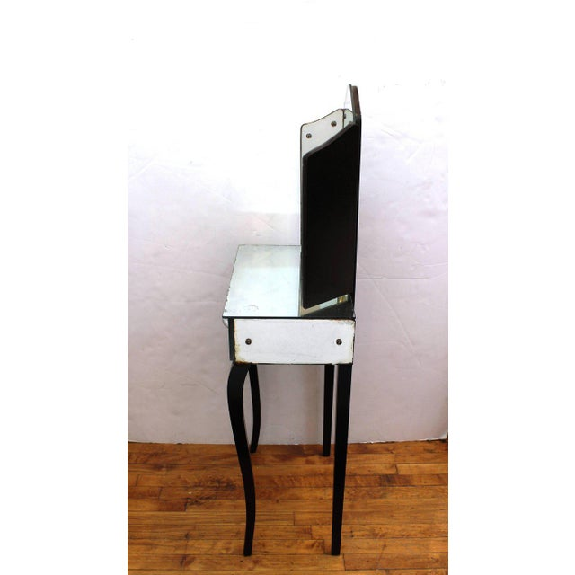 Black 1930s Art Deco Antique Mirrored Surface and Trifold Mirror Vanity For Sale - Image 8 of 10