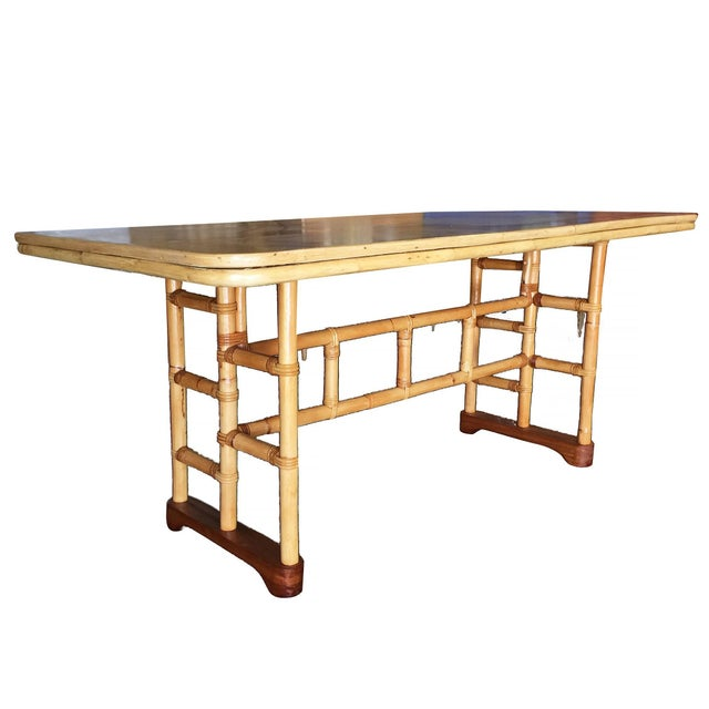 Mid-Century Modern Restored Mid-Century Rattan and Mahogany Dining Table With Skeleton Base For Sale - Image 3 of 8