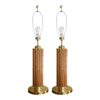 1980s Reed Wood and Brass Column Table Lamps- a Pair For Sale