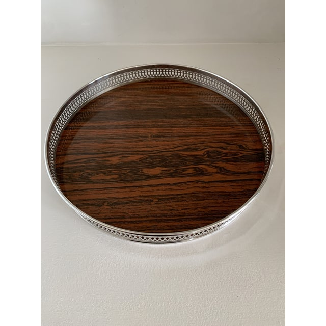 Mid 20th Century Vintage Sheffield Silverplate & Rosewood Formica Serving Tray For Sale In Charlotte - Image 6 of 10