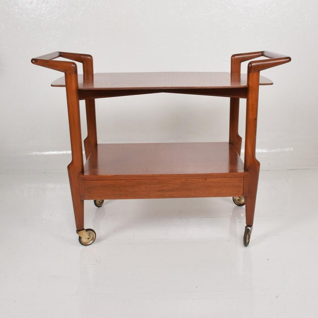 Mid-Century Mexican Modern Mahogany Service Cart For Sale In San Diego - Image 6 of 10