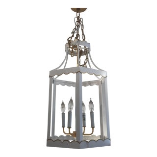 Glossy White and Gold Lantern by Owd For Sale