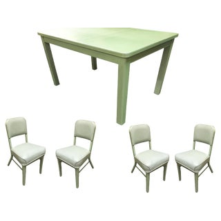 Mid Century Steelcase Tanker Dining Table and Chairs Set For Sale