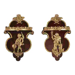 Pair of French Regency Style Corbel Wall Sconce Brackets W Gilt Bronze Angels For Sale