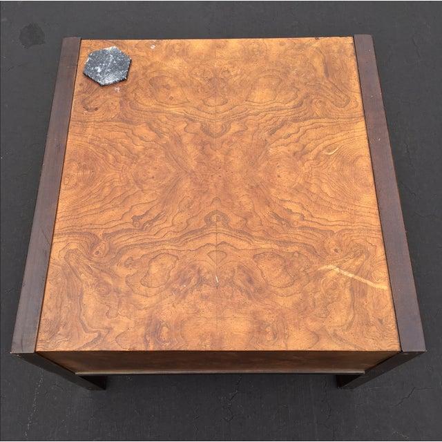 Burl Wood & Mahogany 2 Drawer Side Table - Image 10 of 10
