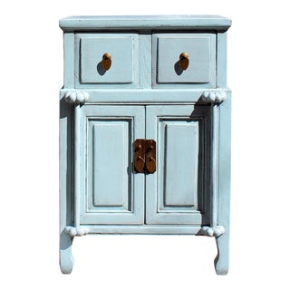Distressed Oriental Light Pastel Blue Solid Wood End Table Nightstand For Sale