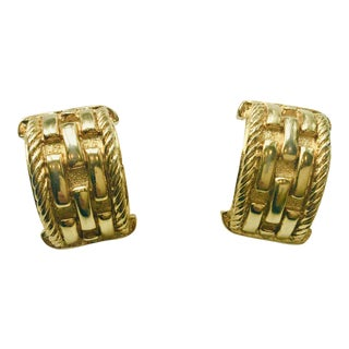 Givenchy Paris Gold Braided Rope Earrings For Sale