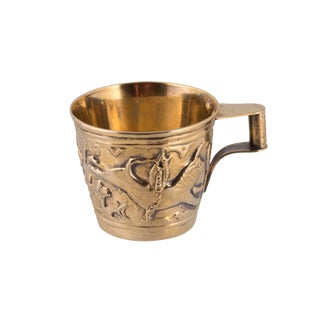 20th Century Vintage Lalalounis Greek Gilt Sterling Silver Bull Chalice Cup For Sale