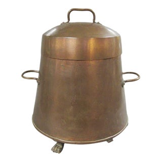 Copper Doofpot Canister Bucket With Brass Paw Feet for Coal or Ashes For Sale