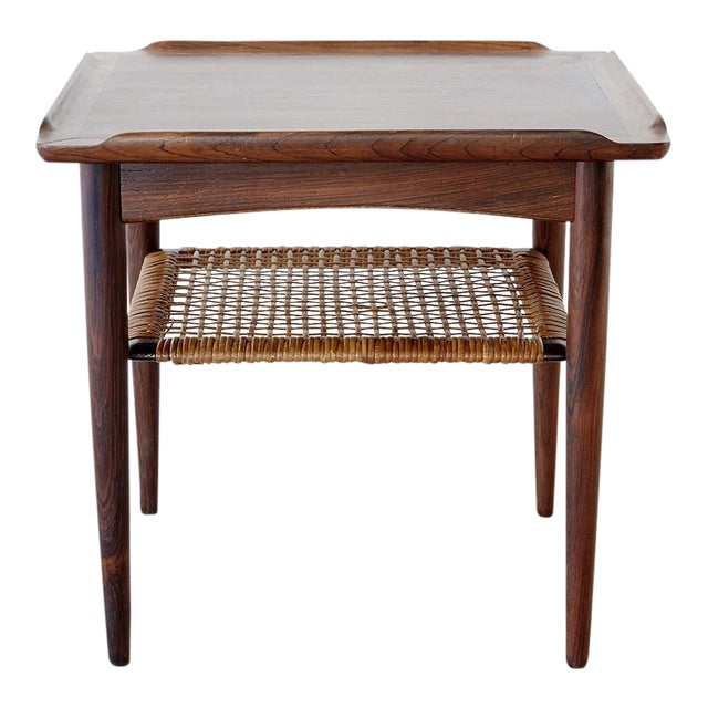 Rosewood and Cane Side Table by Poul Jensen for Selig - Image 1 of 9