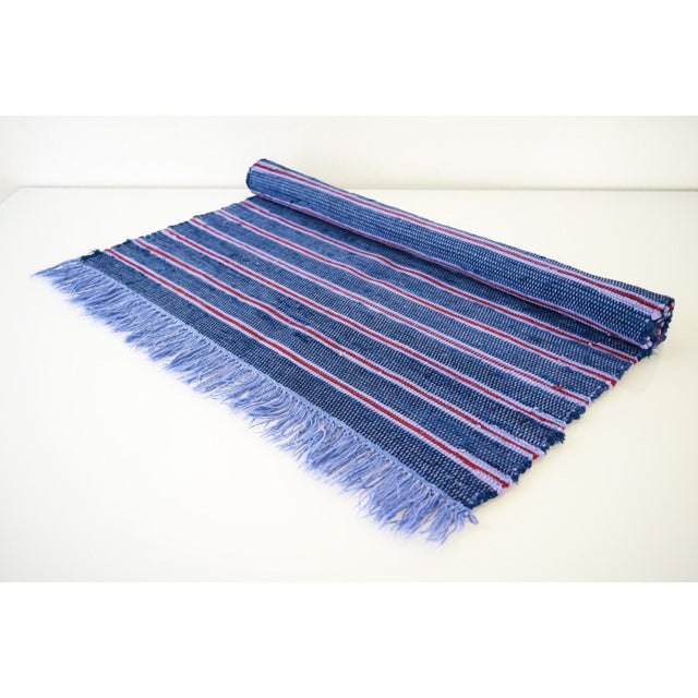 Mid-Century Modern Vintage Swedish Style Hand Loomed Navy Blue Rag Rug - 2′4″ × 3′6″ For Sale - Image 3 of 6
