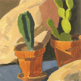 Contemporary Cactus Still Life Oil Painting For Sale