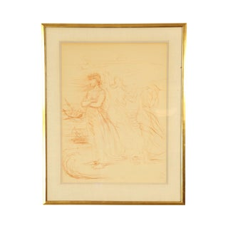 Hans Von Marees, Framed Sanguine Lithograph- Artist Drawing of Women (A) For Sale