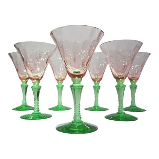 Vintage Watermelon Glass Pink & Green Goblets - Set of 7 For Sale