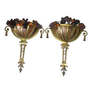 1920s Bronze & Alabaster Wall Sconces With Glass Fruits - a Pair For Sale