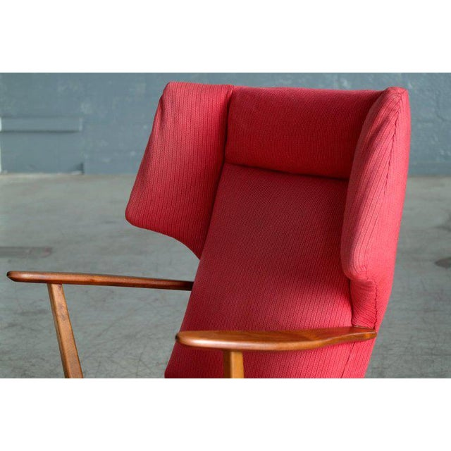 Svend Aage Madsen Danish 1950's Madsen and Schubell High Back Lounge Chair in Teak and Oak For Sale - Image 4 of 11