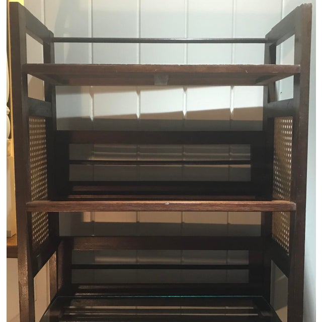 Mid 20th Century 3 Tier Cane and Wood Shelving Unit For Sale - Image 5 of 13
