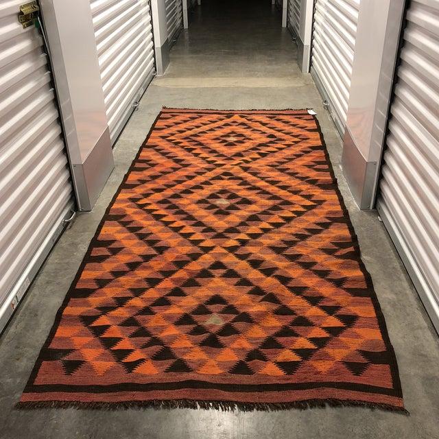 Textile Vintage Turkish Geometric Kilim Rug - 4′3″ × 10′1″ For Sale - Image 7 of 7