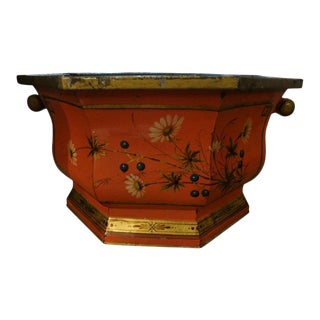 Italian Painted and Gilt Decorated Tole Jardiniere or Cachepot For Sale