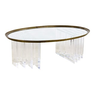 1970s Hollywood Regency Brass and Lucite Coffee Table For Sale