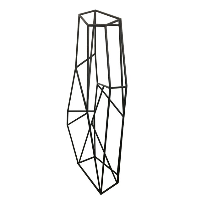 """Dramatic vintage geometric sculpture constructed of 1/2"""" square steel- Artist unknown. This piece will work outdoors as a..."""