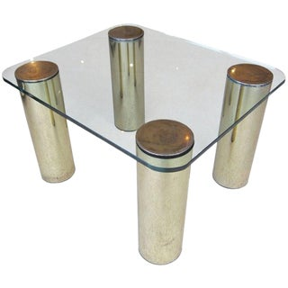 Brass and Glass Table With Cylindrical Legs by Pace Collection For Sale