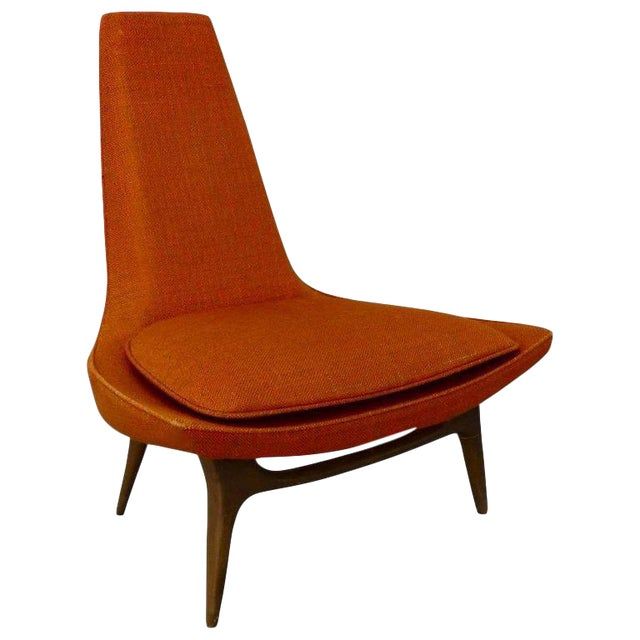 Original Condition Karpen of California Tall Back Lounge Chair For Sale
