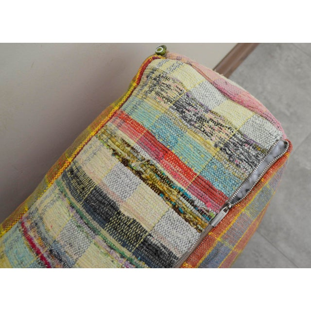 Hand Woven Kilim Floor Cushion Turkish Sitting Pillow- 22″ X 22″ - Image 7 of 8