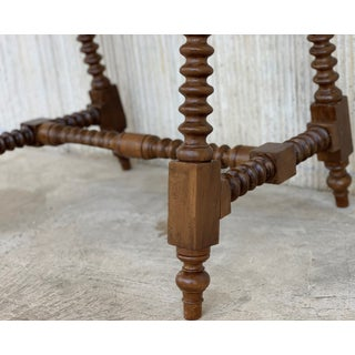 Spanish Baroque Side Table With Wood Stretcher and Carved Top in Walnut Preview