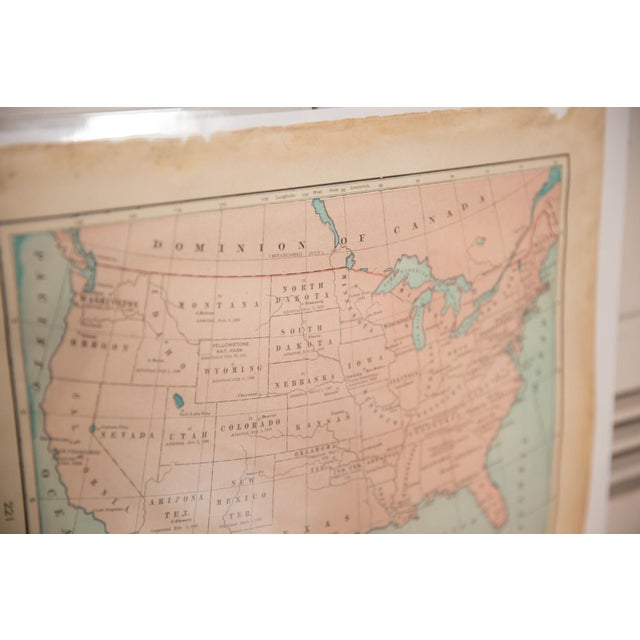 """:: From Cram's Unrivaled Atlas of the World 1907 Edition, a map of USA that measures 11.5"""" x 14.5"""". Page Numbers of..."""