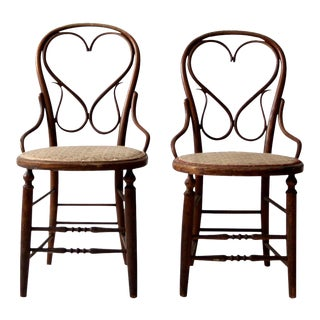 Antique Heart Back Bentwood Chairs - a Pair For Sale