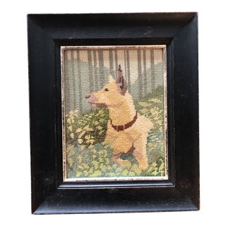Vintage Original Dog Portrait Needlepoint Framed For Sale