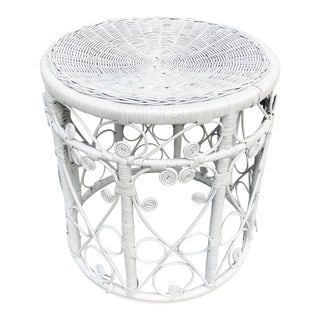 Vintage White Rattan Wicker Table / Stool For Sale