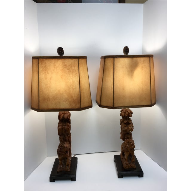Carved Wood Lion Table Lamps - A Pair - Image 10 of 11