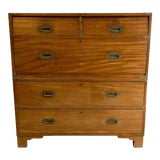 Image of 19th Century English Mahogany Campaign Chest For Sale