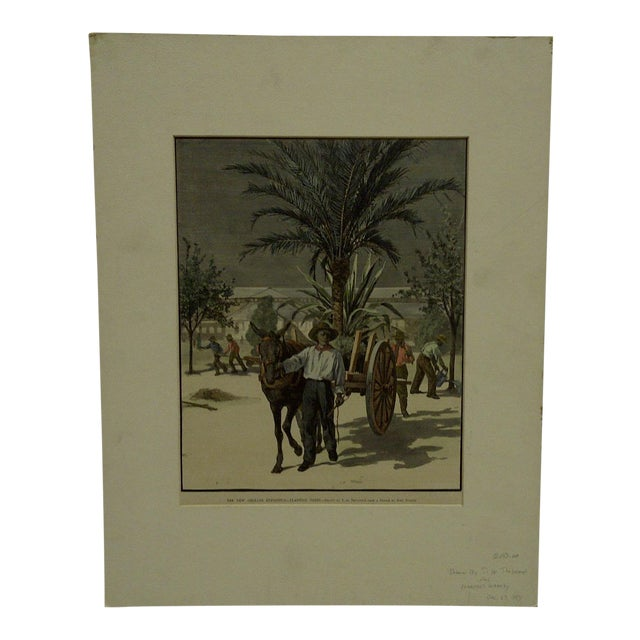 """Harper's Weekly """"The New Orleans Exposition, Planting Trees"""" Print by T. De Thulsrump For Sale"""