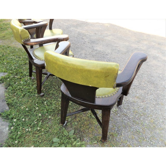 Wood and Avocado Vinyl Mid-Century Arm Chairs - Set of 3 For Sale - Image 6 of 13