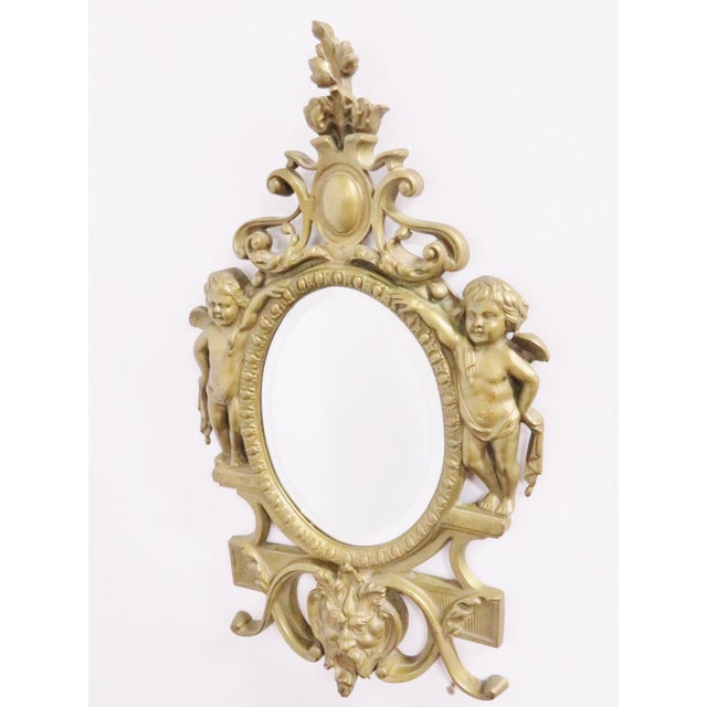 Late 19th Century Victorian Figural Brass Mirror For Sale - Image 5 of 5