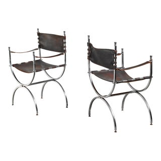 Pair Maison Jansen Side Chairs, France, 1970s For Sale