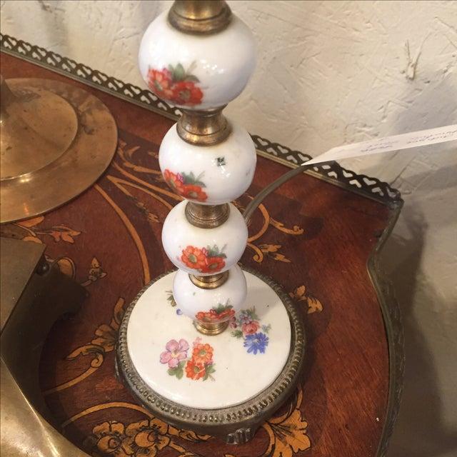 Metal 1940s Vintage Floral Porcelain Lamp For Sale - Image 7 of 8
