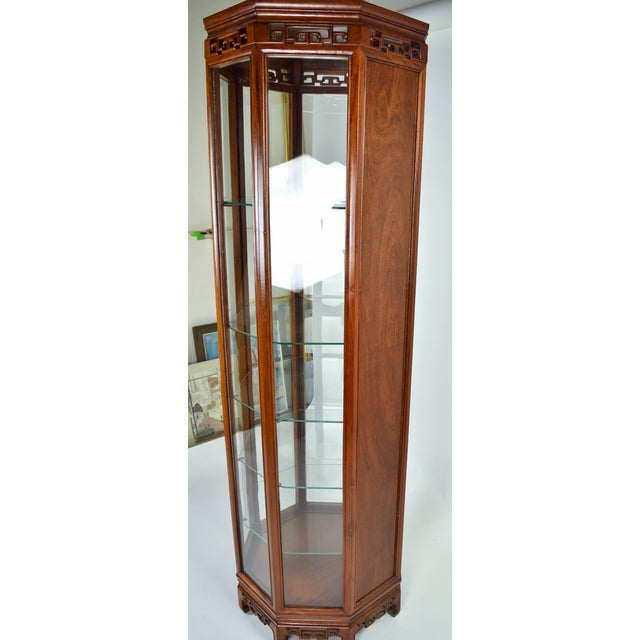 Brown Vintage Asian Rosewood Octagonal Curio China Cabinet For Sale - Image 8 of 12