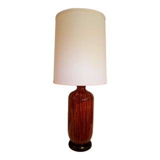 Mid-Century Modern High Red, Yellow, Orange Gloss Ceramic Drip Glaze Lamp