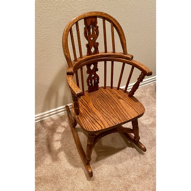 Mid 20th Century Vintage English Windsor Oak Childrens Rocking Chair For Sale - Image 5 of 6