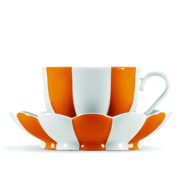 """Melon"" Mocha Cup with Saucer by Josef Hoffmann Orange For Sale - Image 10 of 10"