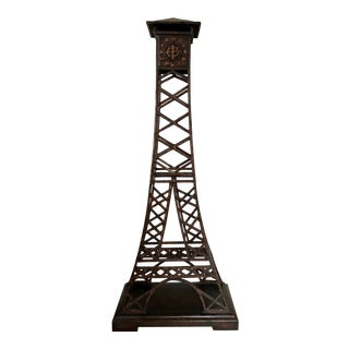 Eiffel Tower Bronzed Metal Clock With Leather and Gold Trim For Sale