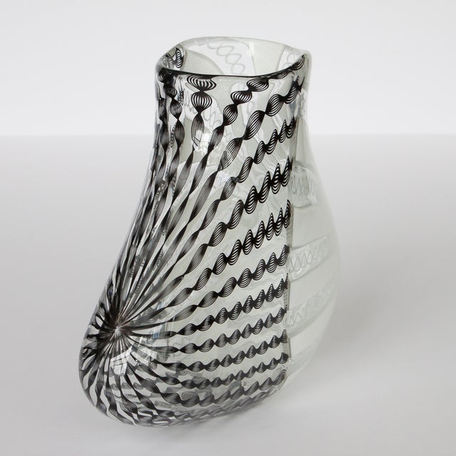 Murano zanfirico black white art glass vase image 4 of 10