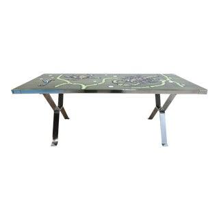 Mid-Century Chrome Floating Ceramic Tile Top Italian Coffee Table