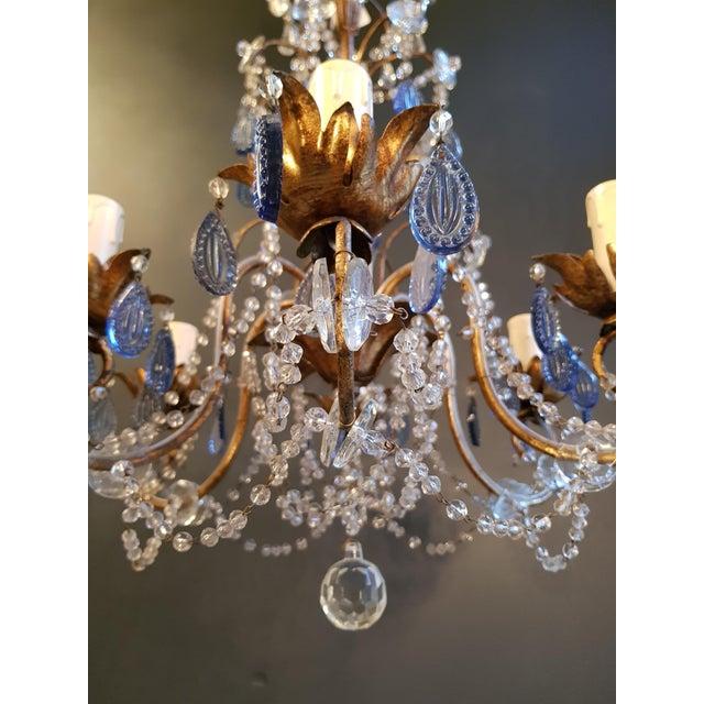 Fine Beaded Blue Crystal Chandelier Antique Ceiling Lamp Lustre Art Nouveau For Sale - Image 4 of 8